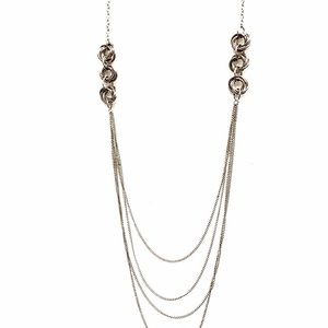 BANANA REPUBLIC long layered silver knot necklace